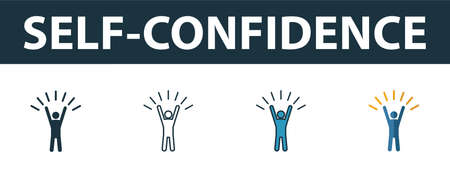 Self-Confidence icon set. Four elements in diferent styles from soft skills icons collection. Creative self-confidence icons filled, outline, colored and flat symbols.
