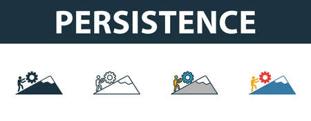 Persistence icon set. Four elements in diferent styles from soft skills icons collection. Creative persistence icons filled, outline, colored and flat symbols. Stock Illustratie