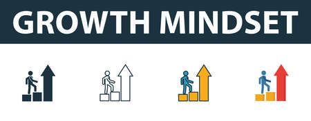 Growth Mindset icon set. Four elements in diferent styles from soft skills icons collection. Creative growth mindset icons filled, outline, colored and flat symbols.