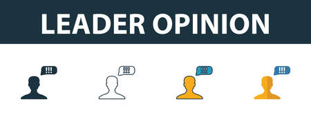 Leader Opinion icon set. Four elements in diferent styles from smm icons collection. Creative leader opinion icons filled, outline, colored and flat symbols.
