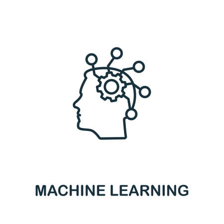 Machine Learning outline icon. Thin line concept element from crm icons collection. Creative Machine Learning icon for mobile apps and web usage.