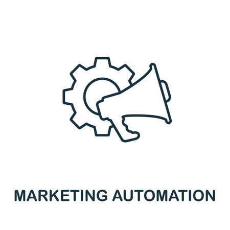 Marketing Automation outline icon. Thin line concept element from crm icons collection. Creative Marketing Automation icon for mobile apps and web usage.