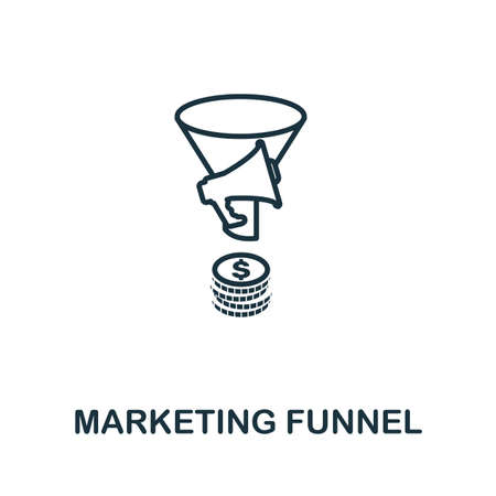 Marketing Funnel outline icon. Thin line concept element from crm icons collection. Creative Marketing Funnel icon for mobile apps and web usage. Иллюстрация