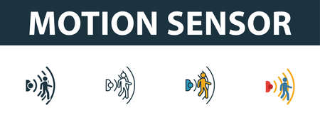 Motion Sensor icon set. Four elements in diferent styles from smart home icons collection. Creative motion sensor icons filled, outline, colored and flat symbols. Illustration