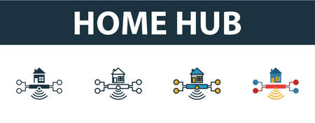 Home Hub icon set. Four elements in diferent styles from smart home icons collection. Creative home hub icons filled, outline, colored and flat symbols. Illustration