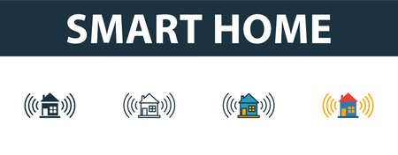 Smart Home icon set. Four elements in diferent styles from smart home icons collection. Creative smart home icons filled, outline, colored and flat symbols.