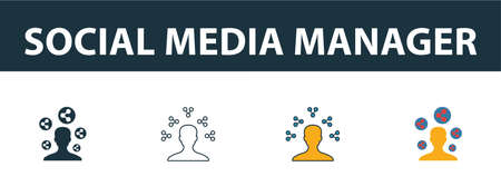 Social Media Manager icon set. Four elements in diferent styles from smm icons collection. Creative social media manager icons filled, outline, colored and flat symbols.