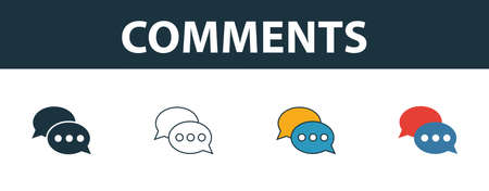 Comments icon set. Four elements in diferent styles from smm icons collection. Creative comments icons filled, outline, colored and flat symbols.  イラスト・ベクター素材