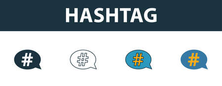 Hashtag icon set. Four elements in diferent styles from smm icons collection. Creative hashtag icons filled, outline, colored and flat symbols.