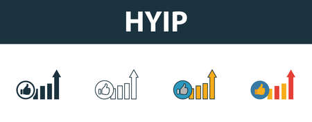 Hyip icon set. Four elements in diferent styles from smm icons collection. Creative hyip icons filled, outline, colored and flat symbols.