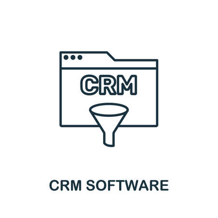 Crm Software outline icon. Thin line concept element from crm icons collection. Creative Crm Software icon for mobile apps and web usage. Иллюстрация