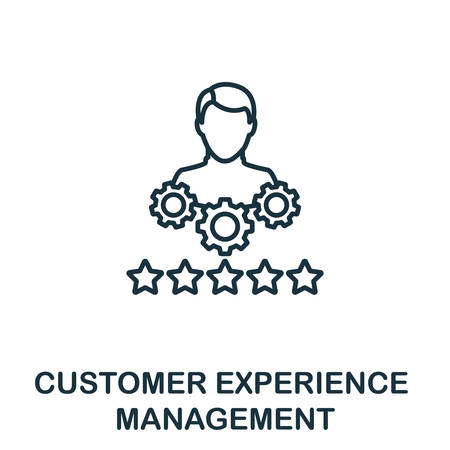 Customer Experience Management outline icon. Thin line concept element from crm icons collection. Creative Customer Experience Management icon for mobile apps and web usage.