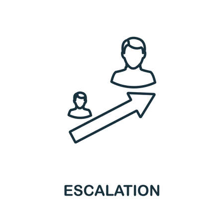Escalation outline icon. Thin line concept element from crm icons collection. Creative Escalation icon for mobile apps and web usage.  イラスト・ベクター素材