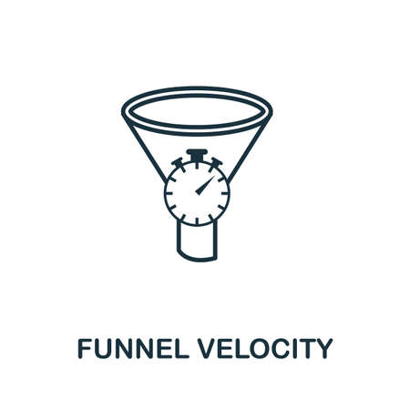 Funnel Velocity outline icon. Thin line concept element from crm icons collection. Creative Funnel Velocity icon for mobile apps and web usage.