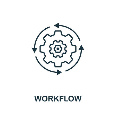 Workflow outline icon. Thin line concept element from crm icons collection. Creative Workflow icon for mobile apps and web usage.