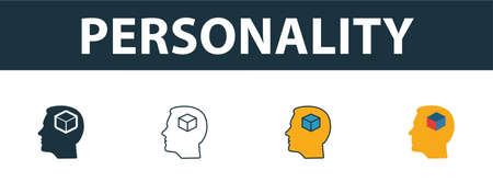 Personality icon set. Four elements in diferent styles from soft skills icons collection. Creative personality icons filled, outline, colored and flat symbols.