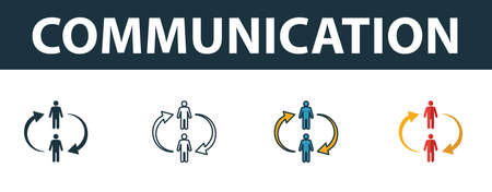 Communication icon set. Four elements in diferent styles from soft skills icons collection. Creative communication icons filled, outline, colored and flat symbols.
