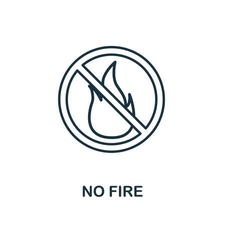 No Fire outline icon. Thin line concept element from fire safety icons collection. Creative No Fire icon for mobile apps and web usage.