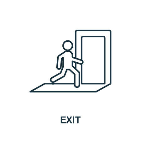 Exit outline icon. Thin line concept element from fire safety icons collection. Creative Exit icon for mobile apps and web usage. Stock Illustratie