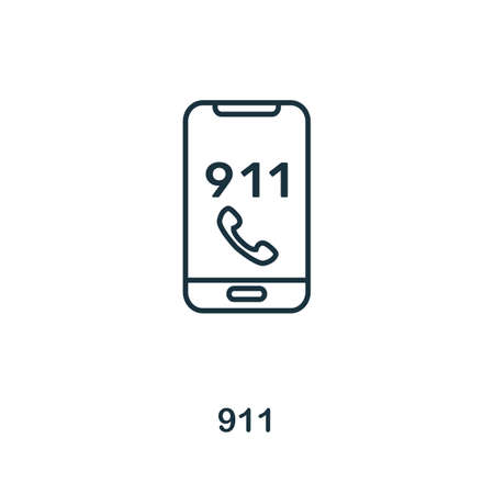 911 outline icon. Thin line concept element from fire safety icons collection. Creative 911 icon for mobile apps and web usage.