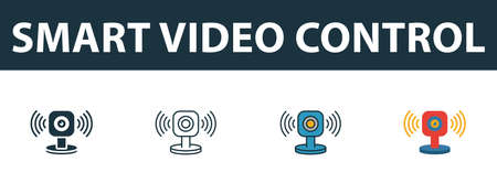 Smart Video Control icon set. Four elements in diferent styles from smart home icons collection. Creative smart video control icons filled, outline, colored and flat symbols.