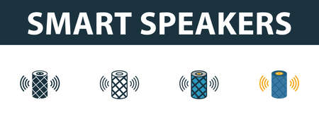 Smart Speakers icon set. Four elements in diferent styles from smart home icons collection. Creative smart speakers icons filled, outline, colored and flat symbols.