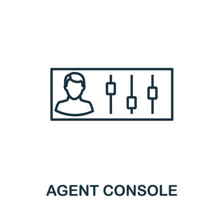 Agent Console outline icon. Thin line concept element from customer service icons collection. Creative Agent Console icon for mobile apps and web usage. Çizim