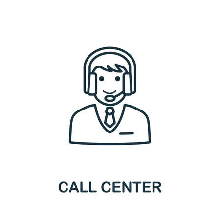 Call Center outline icon. Thin line concept element from customer service icons collection. Creative Call Center icon for mobile apps and web usage. Ilustrace