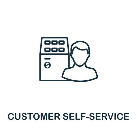 Customer Self-Service outline icon. Thin line concept element from customer service icons collection. Creative Customer Self-Service icon for mobile apps and web usage.