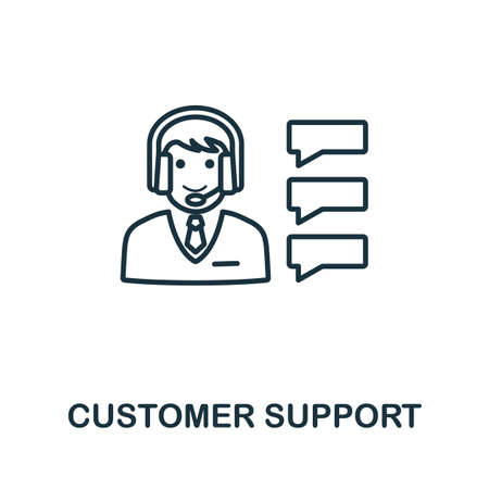 Customer Support outline icon. Thin line concept element from customer service icons collection. Creative Customer Support icon for mobile apps and web usage.