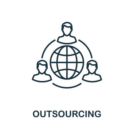 Outsourcing outline icon. Thin line concept element from customer service icons collection. Creative Outsourcing icon for mobile apps and web usage. Иллюстрация