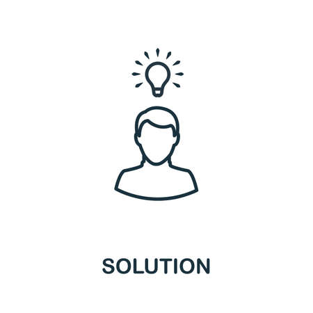 Solution outline icon. Thin line concept element from customer service icons collection. Creative Solution icon for mobile apps and web usage.