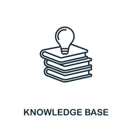 Icône de contour de la base de connaissances. Élément de concept de ligne mince de la collection d'icônes de service client. Icône Creative Knowledge Base pour les applications mobiles et l'utilisation du Web.