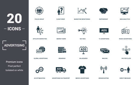 Advertising set icons collection. Includes simple elements such as Focus Group, Client Brief, Marketing Monitoring, Partnership, Web Analytics, Branding and Billboards premium icons. Фото со стока