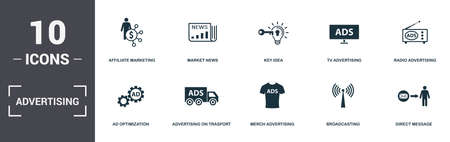 Advertising set icons collection. Includes simple elements such as Affiliate Marketing, Market News, Key Idea, Tv Advertising, Radio Advertising, On Trasport and Merch Advertising premium icons.