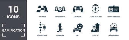 Gamification icon set. Contain filled flat game dynamics, engagement, gamepad, points and badges, activity loop, fun, teamwork, strategy icons. Editable format. Zdjęcie Seryjne
