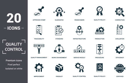 Quality Control icon set. Contain filled flat correction, efficiency, infrastructure, quality policy, traceability, production, guarantee icons. Editable format. Фото со стока - 130071275