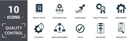 Quality Control icon set. Contain filled flat procedure, infrastructure, traceability, work environment, improvement, check icons. Editable format.