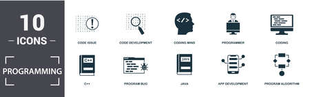 Programmer icon set. Contain filled flat coding, coding mind, app development, program algorithm, java, code development, code issue icons. Editable format. Reklamní fotografie