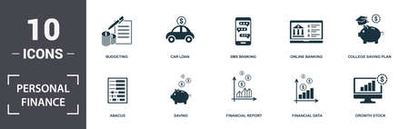 Personal Finance icons set collection. Includes simple elements such as Budgeting, Car Loan, Sms Banking, Online Banking, College Saving Plan, Saving and Financial Report premium icons.