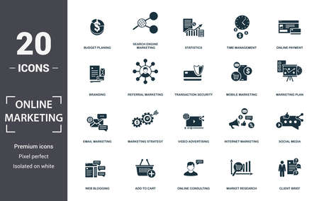 Online Marketing icon set. Contain filled flat email marketing, mobile marketing, statistics, search engine marketing, plan, social media, branding icons. Editable format.