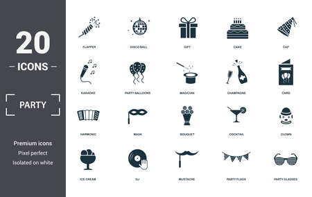 Party Icon icons set collection. Includes simple elements such as Flapper With Confetti, Disco Ball, Gift, Cake, Cap, Mask and Bouquet premium icons.