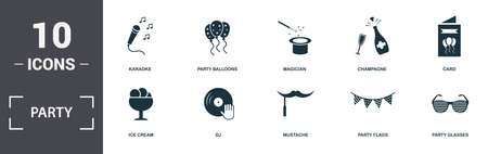 Party Icon icons set collection. Includes simple elements such as Karaoke, Party Balloons, Magician, Champagne, Card, Dj and Mustache premium icons.