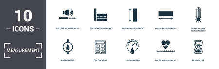 Measurement icons set collection. Includes simple elements such as Volume, Depth Measurement, Height Measurement, Width, Temperature Measurement, Calculator and Hygrometer