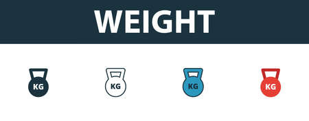 Weight icon set. Four elements in diferent styles from sport equipment icons collection. Creative weight icons filled, outline, colored and flat symbols.