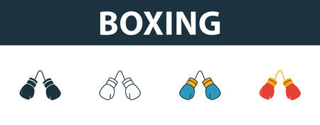 Boxing icon set. Four elements in diferent styles from sport equipment icons collection. Creative boxing icons filled, outline, colored and flat symbols.