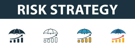 Risk Strategy icon set. Four elements in diferent styles from risk management icons collection. Creative risk strategy icons filled, outline, colored and flat symbols.