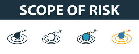 Scope Of Risk icon set. Four elements in diferent styles from risk management icons collection. Creative scope of risk icons filled, outline, colored and flat symbols. Vecteurs
