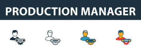 Production Manager icon set. Four elements in diferent styles from risk management icons collection. Creative production manager icons filled, outline, colored and flat symbols.