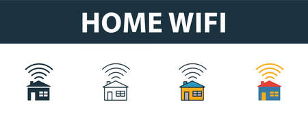 Home Wifi icon set. Four elements in diferent styles from icons collection. Creative home wifi icons filled, outline, colored and flat symbols. Vektoros illusztráció